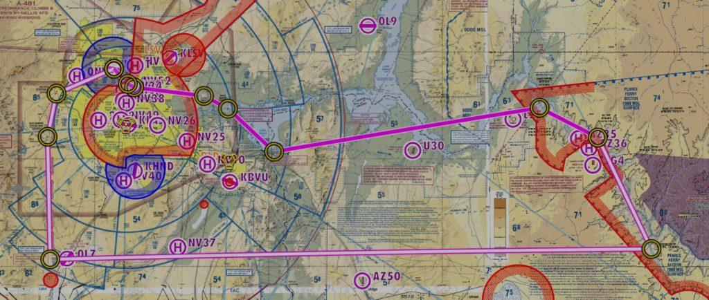 Flytur fra Las Vegas North til Grand Canyon og Hoover Dam (Faksimile: AirNav Pro)